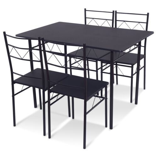 5Pcs Metal Dining Table Set w/ 4 Chairs Breakfast Furniture