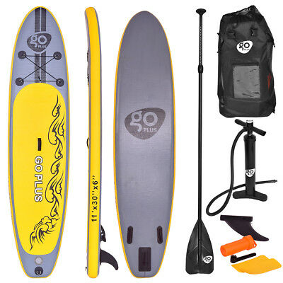 11 Inflatable Stand Up Paddle Board Sup W  3 Fins Adjustable Paddle Backpack