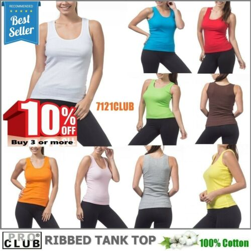 WOMENS Ribbed Tank Tops A-Shirt Sleeveless PROCLUB Cami Yoga Top Underwear S-3XL
