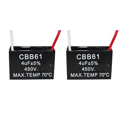 2PCS 450V 4UF CBB61 Ceiling Fan Motor Running Capacitor 2 Wire 50/60 Hz