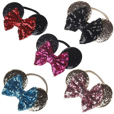 Minnie Mouse Ears Bow Headband Kid Baby Girl Sequin Party Hair Band - Baby Mouse Ears