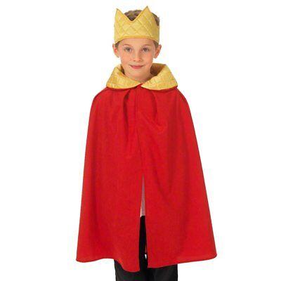 Kinder Rot König oder Königin Mantel Mantel mit Krone Kostüm Kostüm 3-9 Jahre