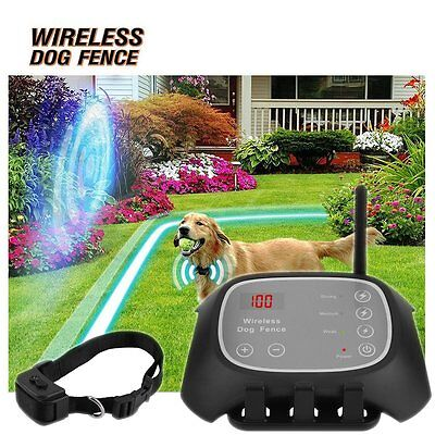 Wireless Dog Fence No-Wire Pet Containment System Rechargeable&Waterproof Black