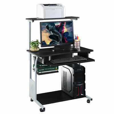 Computer Desk Rolling Laptop w/ Printer Shelf Stand Home Office Study -