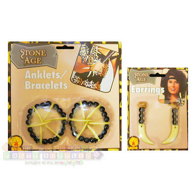 STONE AGE COSTUME JEWELRY SET ~ Party Supplies Favors Bracelets Ankelts Earrings](Stone Age Costumes)