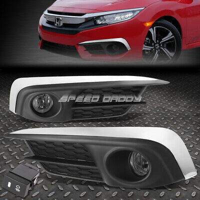 FOR 2016 HONDA CIVIC SMOKED LENS BUMPER DRIVING FOG LIGHT LAMPS W/BEZEL+SWITCH