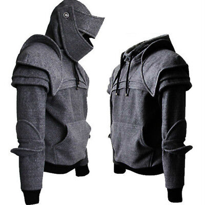 Medieval Vintage Warrior Soldier Knight Mask Armor Knee Sweater Jacket Hoodie (Medieval Knight Mask)