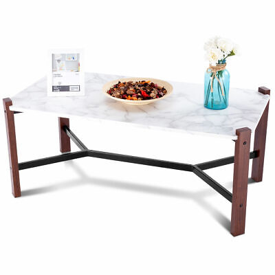 Coffee Table Accent Cocktail Table White Faux Marble Top Living Room Furniture