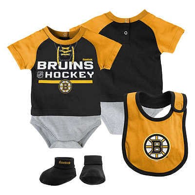 Boston Bruins Newborn Baby Infant 3-Piece Creeper Bib Booties Gift Set FREE (Infant Creeper Bib)