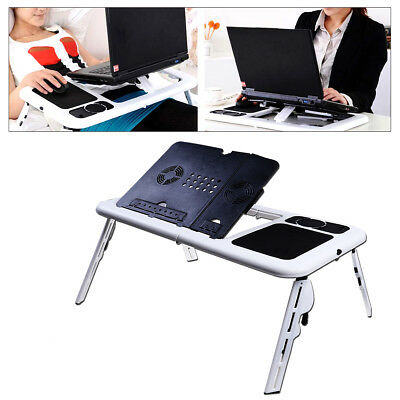 Foldable Adjustable Laptop Desk Table Stand Notebook For Bed Sofa Black & White