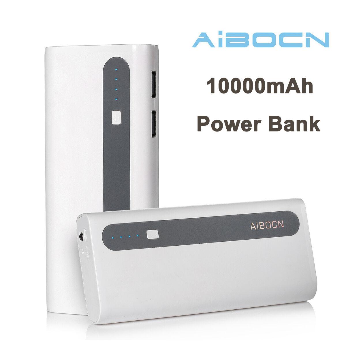 Aibocn Portable 10000mAh Dual USB Port External Cell Battery