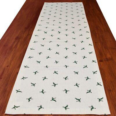 Tischläufer rustikale Tischdecke Knut grün natur 160 x 40 cm mit Hirsch-Motiv