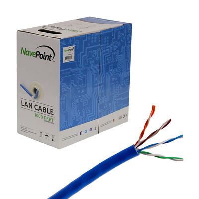 CAT5e 1000FT UTP Cable Solid 24AWG Blue Network Ethernet LAN Bulk Wire RJ45 Blue Cat5 E Network Cable
