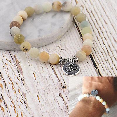 8MM Amazonite Stone OM Lotus Buddha Chakra Mala Elastic Natural Stone Bracelets