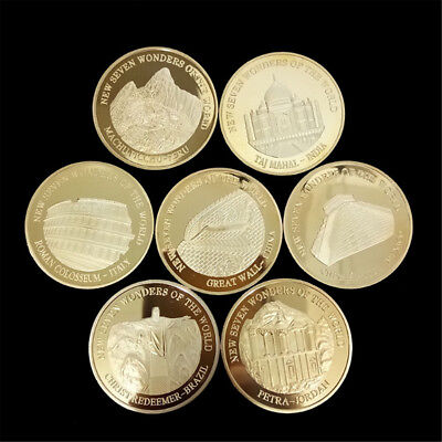 1pc Gold Coin Seven Wonders of the World Commemorative Coin Collection Decor New