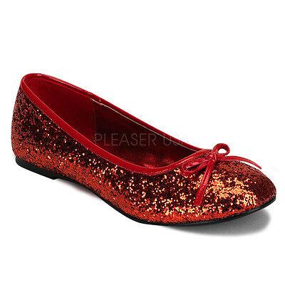 STAR16G/R Women's Basic Classic Cute Sparkle Red Glitter Flats Costume Shoes (Women Ballerina Costume)