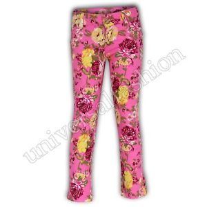 Girls Jeans Kids Skinny Pants Floral Flower Print Slim Fit Trousers Stretch New