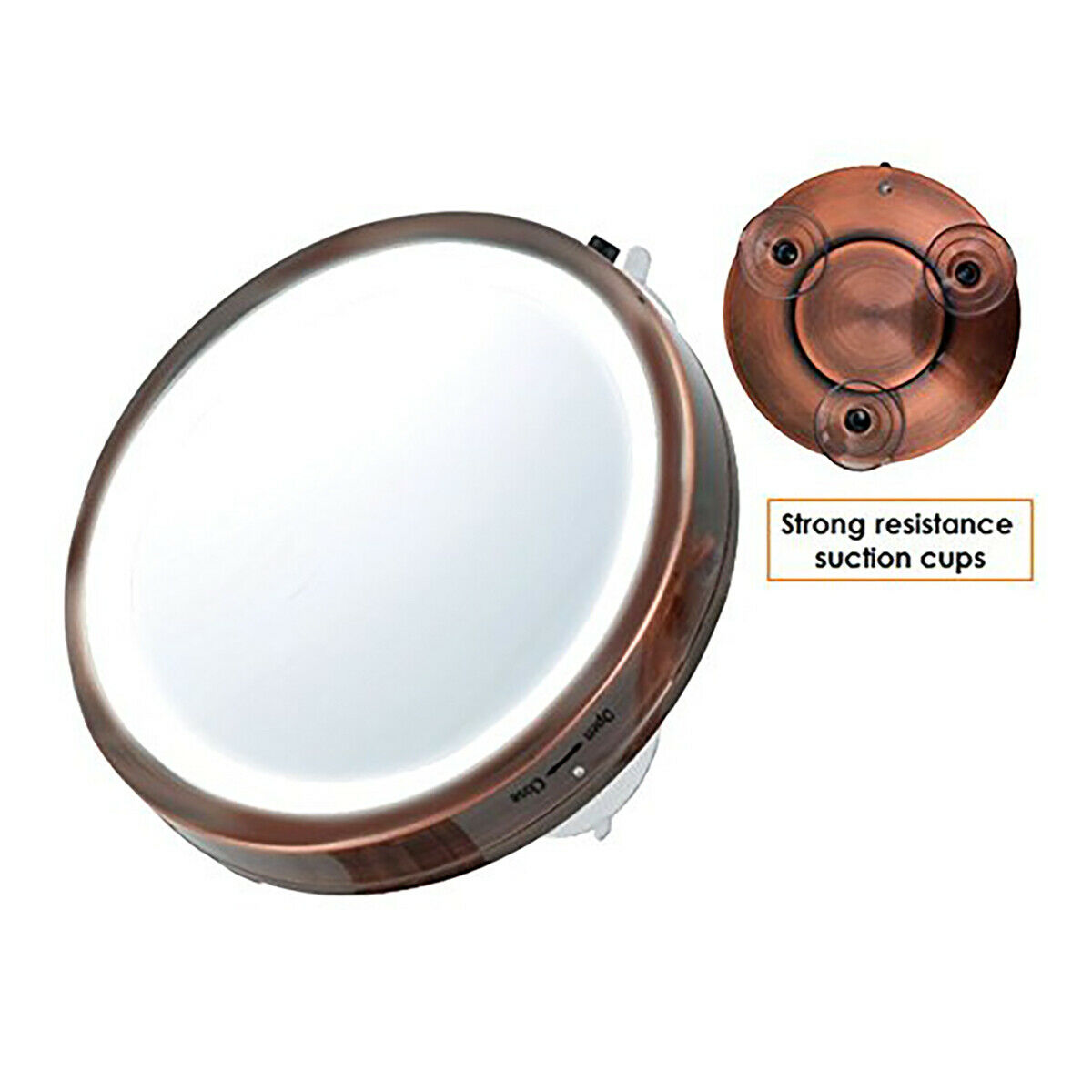 "Ovente Lighted Travel Makeup Mirror, 6"" Diameter, Compact"