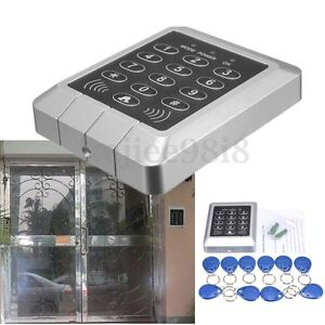 RFID Proximity Entry Door Lock keypad Access Control System Security 10 Key Fobs