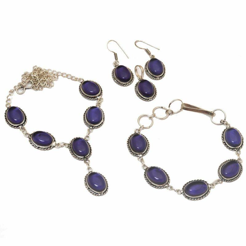 Amethyst 925 Silver Plated Necklace Bracelet Pendant Earring Sets N-22-114
