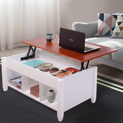 Pocket Top Coffee Table w/ Hidden Compartment Storage Shelf Living Room Furniture