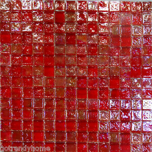 sample red iridescent glass mosaic tile backsplash kitchen