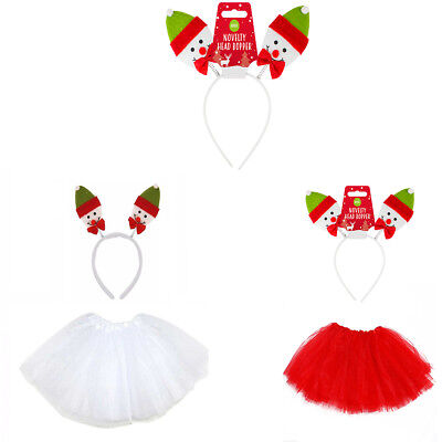 Weihnachten Tütü Kostüm Schneemann Haarreifen Fasching Karneval Advent Party