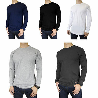 d763e22b Mens 100% Cotton THERMAL TOP Crew Neck Long Sleeve Shirts Underwear Waffle  Color