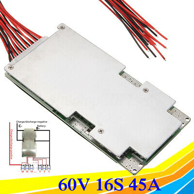 16s 60v 45a Bms Pcb Protection Board W Balance For Ebike Li-ion Lithium Battery