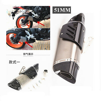 51MM MOTORCYCLE CARBON FIBERSTEEL EXHAUST MUFFLER PIPE WITH REMOVABLE