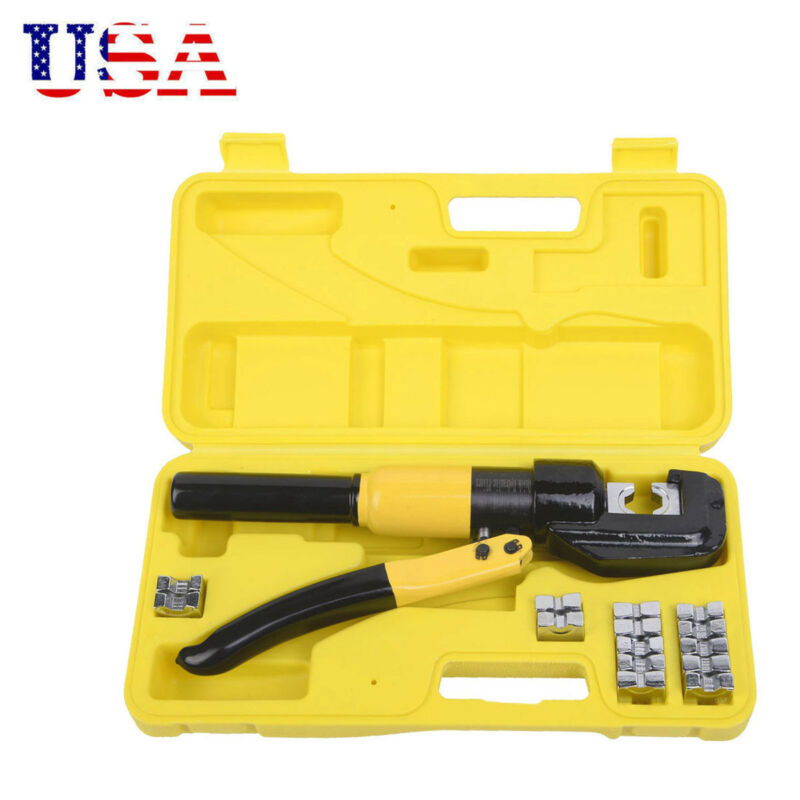 8-TON HYDRAULIC CRIMPING TOOL BATTERY CABLE LUG WIRE CRIMPER TERMINAL AND 9 DIES