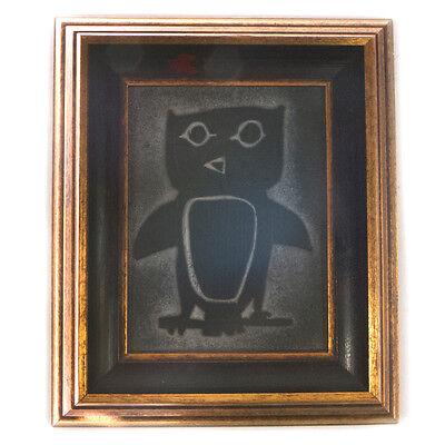 Vintage Unique Framed Carve Stone Owl Image Artwork 6.75