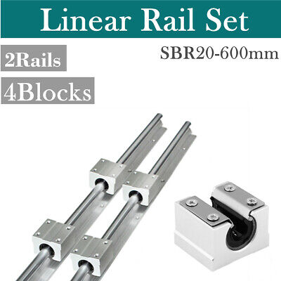 SBR20-600mm Linear Rail Slide 2X Shaft + 4X SBR20UU Bearing Block For CNC