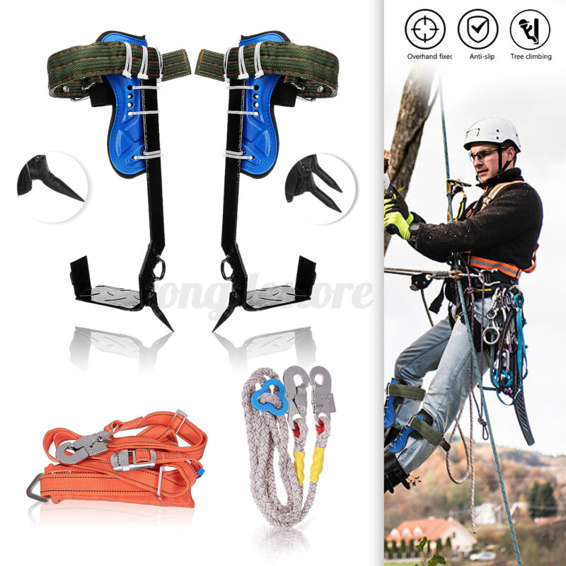 Tree Climbing Spike Set,Safety Belt Rope Straps, Safety Lanyard With Carabiner A
