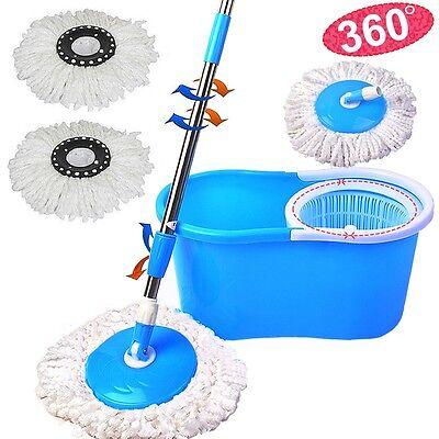 Blue 360  Rotating Easy Magic Floor Spin Mop Bucket W 2 Microfiber Mop Head
