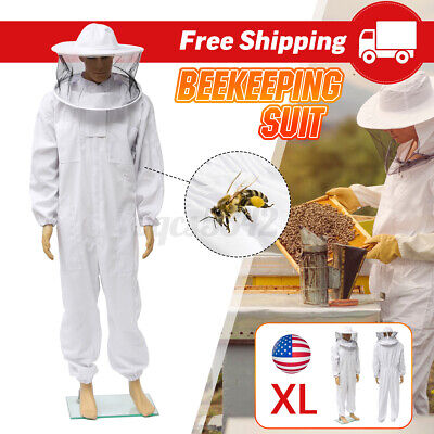 Beekeeper Protective Bee Keeping Suit Jacket Safty Veil Hat Body Equipment Hood