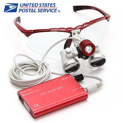 Usps Red Dentist Dental Loupes 3.5x 420mm Surgical Binocular Led Head Light Lamp
