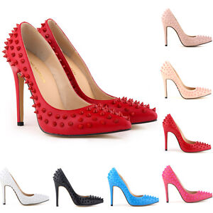 LADIES-HIGH-HEELS-POINTED-CORSET-STYLE-WORK-PUMPS-COURT-SHOES-RIVETS-SIZE-2-9