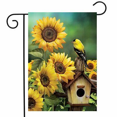 Goldfinch and Sunflowers Summer Garden Flag Birdhouse Floral