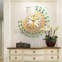US 50x50cm Modern 3D Peacock Diamond Large Wall Clock Alloy Watch Living Room