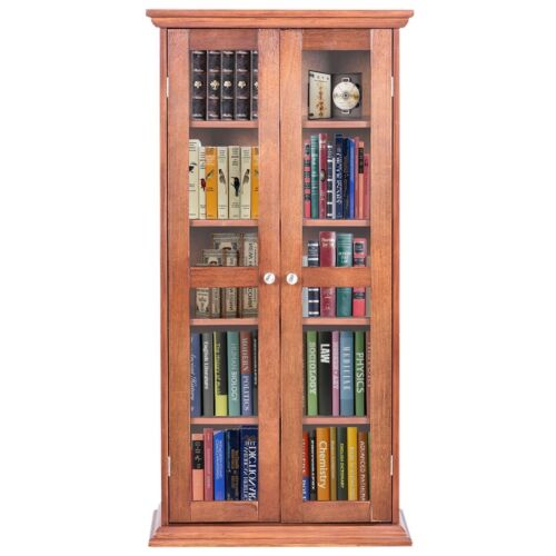 Wood Media Tower Storage Movie CD Book Shelves Cabinet Stand
