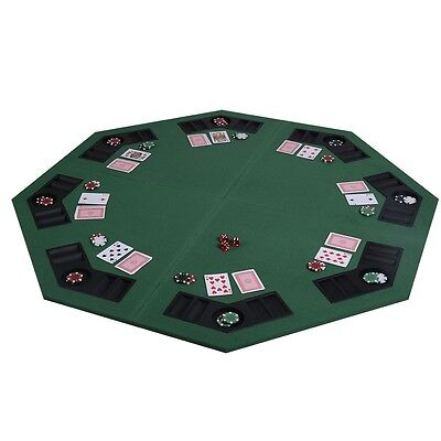 New-48-034-Green-Octagon-8-Player-Four-Fold-Folding-Poker-Table-Top-amp-Carryin