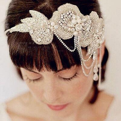 Luxury Rhinestone Headpiece 20s Gatsby Headwear Flapper Wedding Bridal Headbands](Flapper Headwear)