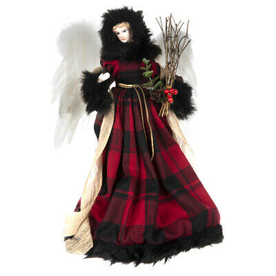 """16"""" Country Christmas Angel Tree Topper Red Buffalo Plaid Rustic Cabin"""