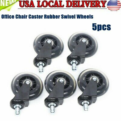 Office Chair Caster Wheels Rubber Wheels For Hardwood Floor Replacement Set Of 5
