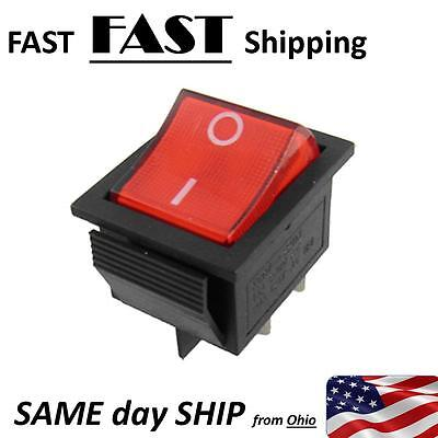 4 Pin 2 Position Dpst On-off Snap In Car Rocker Switch W Red Lamp