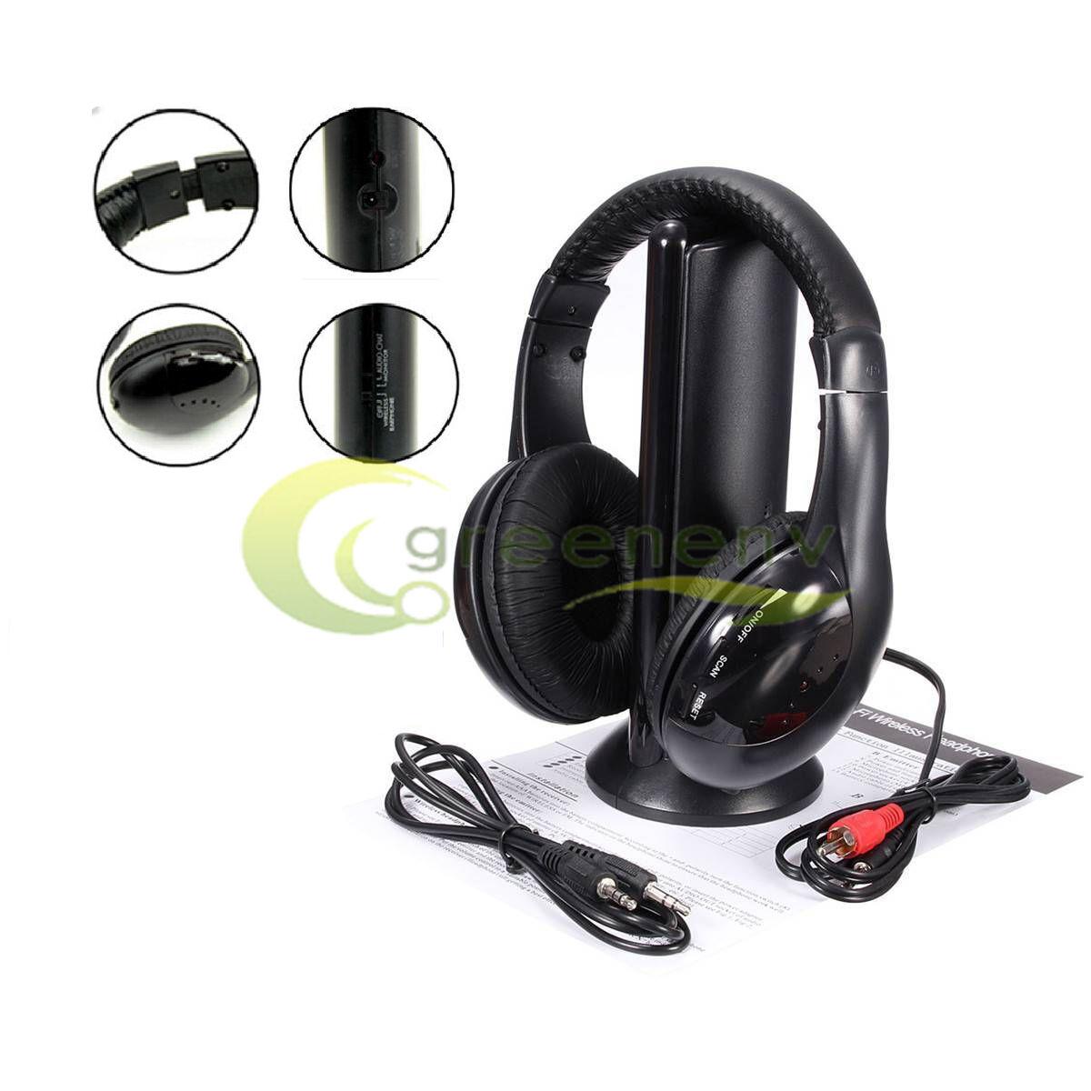 Hot 5 in 1 Hi-Fi Wireless Headset Headphone Earphone for TV
