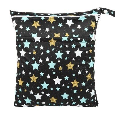 Wet Cloth - Wet Dry Bag Baby Cloth Diaper Nappy Bag Double Zippers Pocket Stars