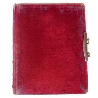 Antique Victorian Soft Red Velvet Hardcover Photo Book Album 8.0