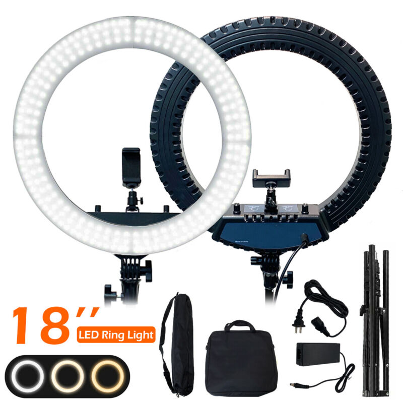 """18"""" LED Ring Light Kit with Stand Dimmable 6000K For Makeup Phone Camera Youtube"""